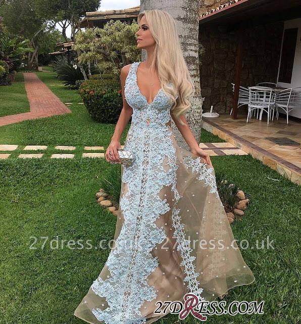 Amazing Floor-Length Tulle V-neck Lace Long Prom Dress UK