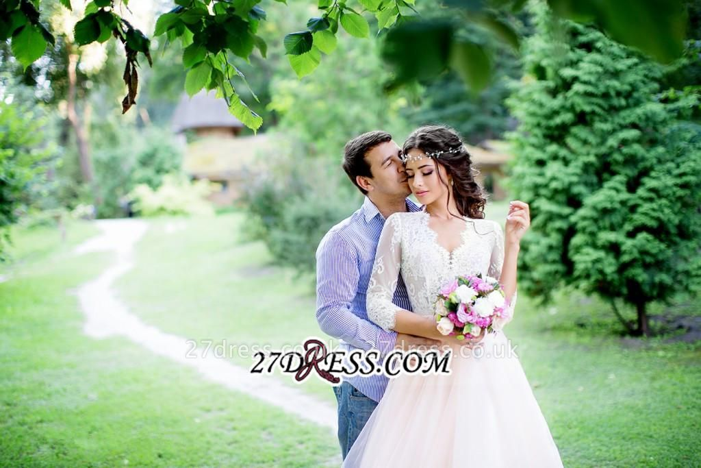 3/4-Length-Sleeve Long Lace Pink Tulle Royal Wedding Dress