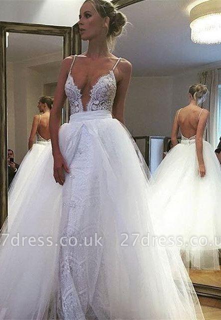 Gorgeous Spaghetti Strap Lace Ruffles Wedding Dress Online