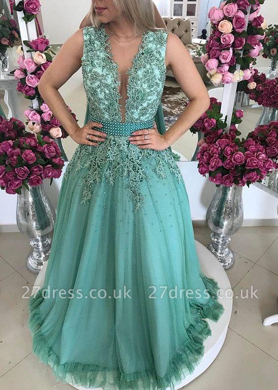 Sexy Sleeveless Evening Dress UK Lace Beadings Long BMT