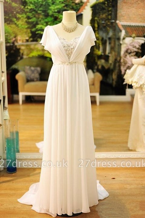 Sexy White Long Chiffon Beading Prom Gown Floor Length  Evening Dress UK