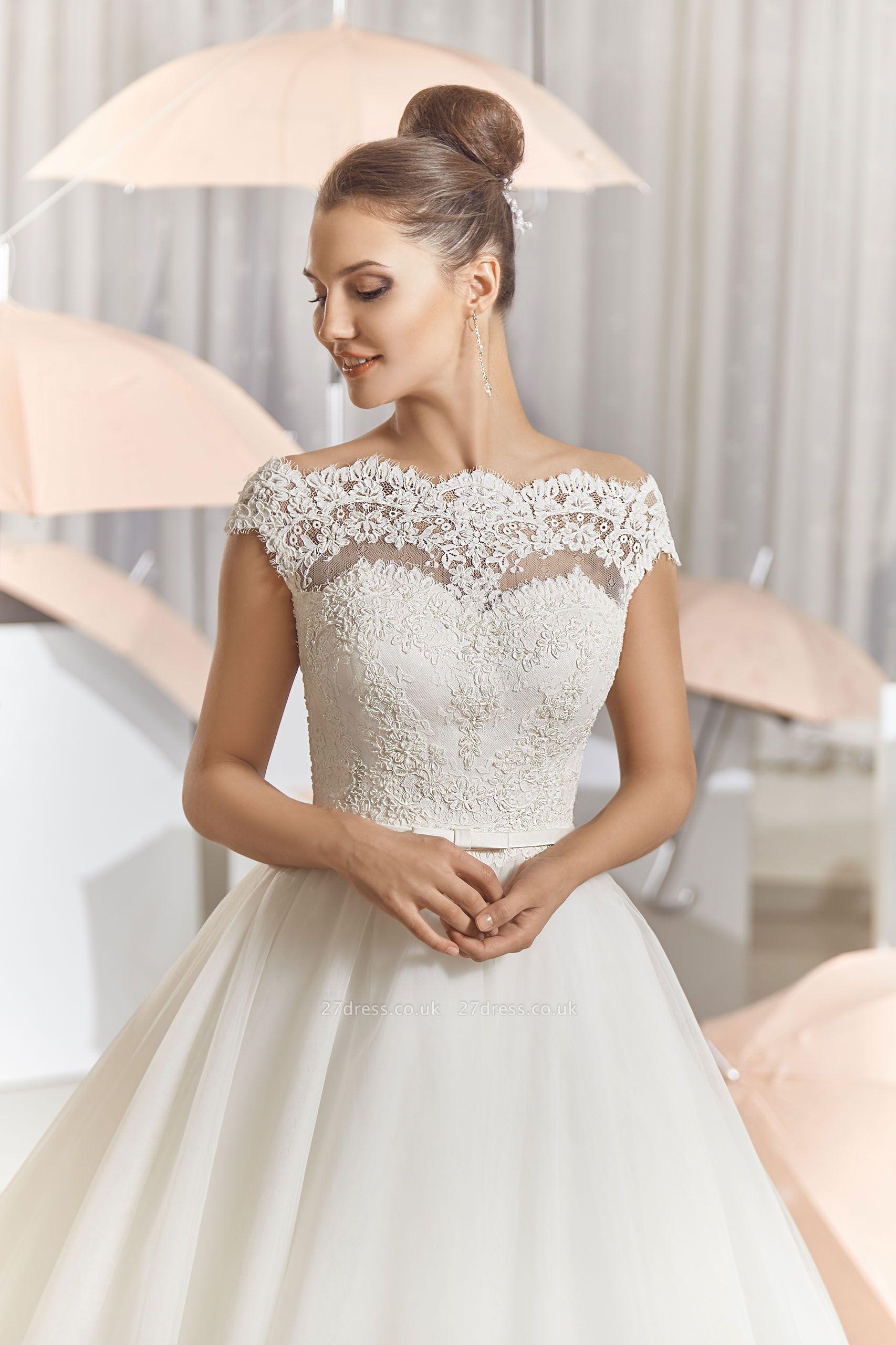 Elegant Illusion Tulle Princess Wedding Dress With Sweep Train