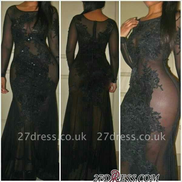 Elegant Black See Through Prom Dress UK Long Sleeve On Sale