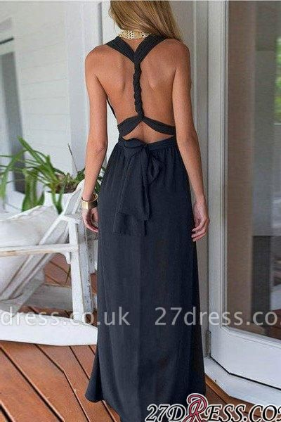 Maxi Elegant Prom Black Chiffon Dress UK Cross-back Halter Prom Party Dress UK CC0007