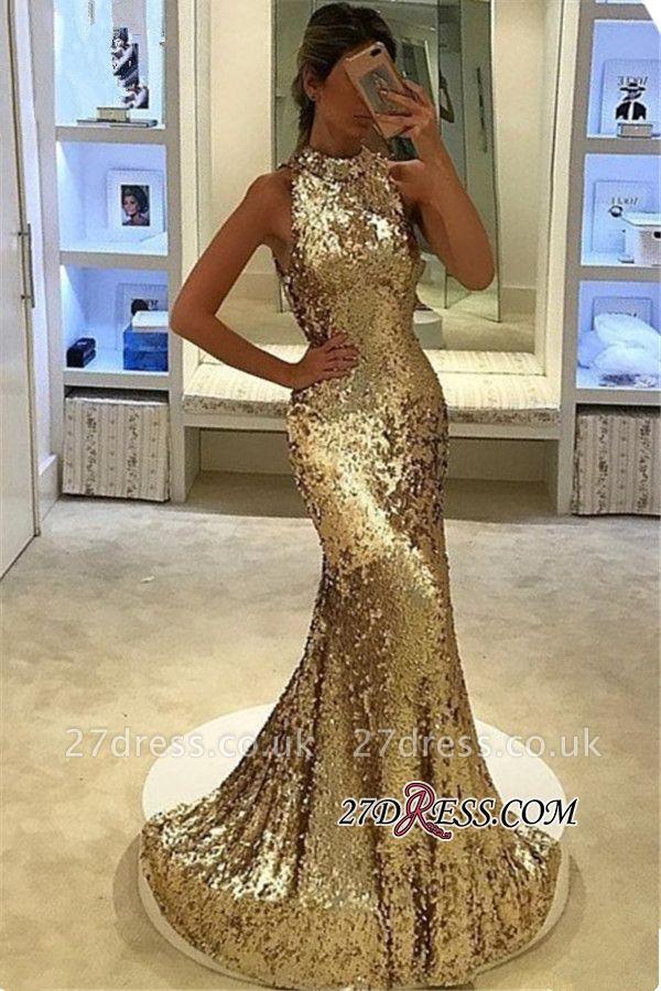 Sequins Sleeveless Sexy Mermaid Long Prom Dress UK
