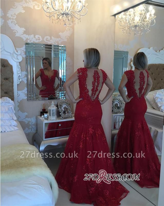 Mermaid Delicate V-neck Red Pearls Lace Cap-Sleeve Prom Dress UK