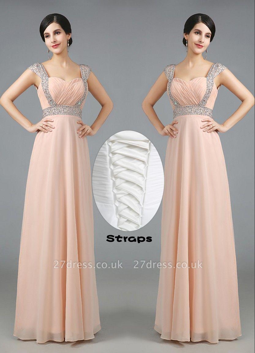 Gorgeous Sweetheart Crystals Chiffon Prom Dress UK Long Lace Up