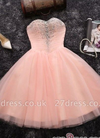 Crystals Sweetheart-Neck Sexy A-line Short Pink Homecoming Dress UKes UK