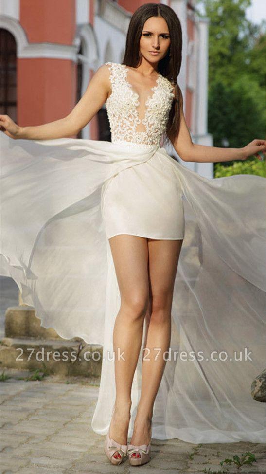 Lace Appliques Bodycon Wedding Dress  Sweep Train