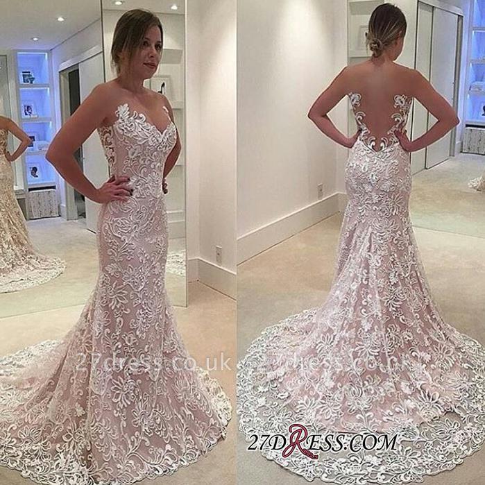 Sheer-Tulle Court-Train Elegant Lace Sexy Mermaid Sleeveless Wedding Dress
