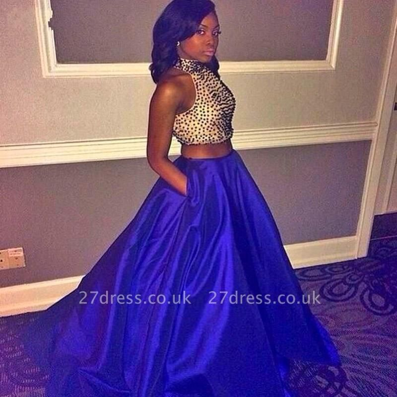 Elegant Halter Sleeveless Long Prom Dress UK Two Pieces With Beadings BK0