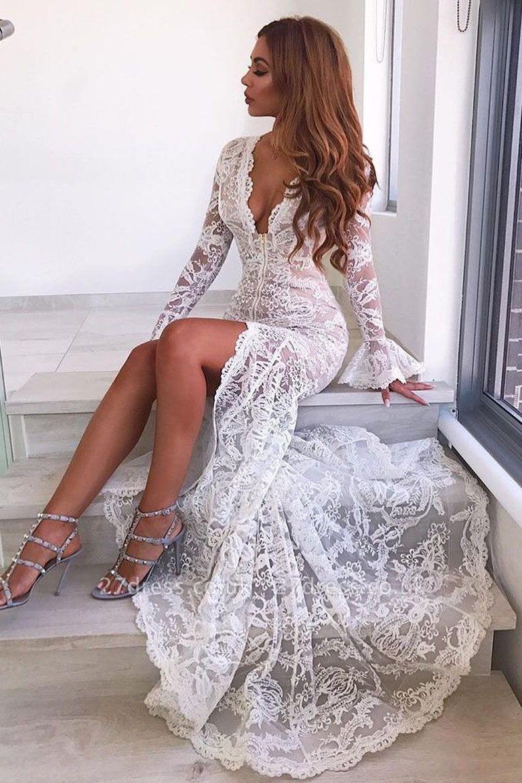 Elegant Long Sleeve V-Neck Prom Dress UK | Lace Evening Party Dress UK With Slit