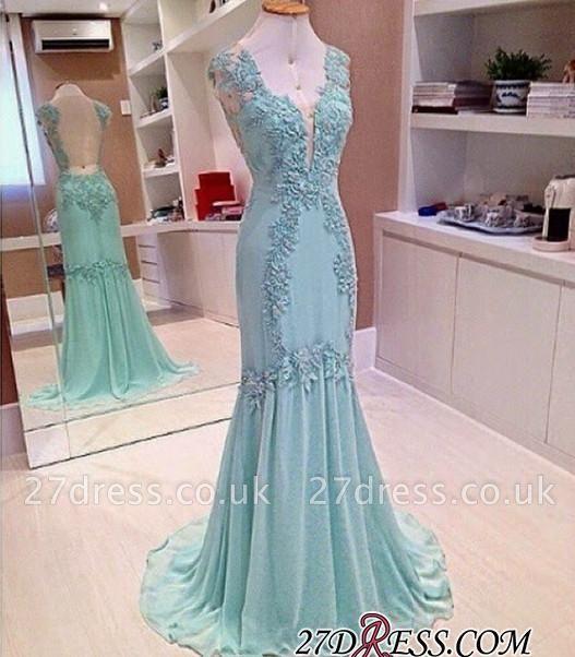 Appliques Chiffon Sexy Sleeveless Open-Back V-Neck Mermaid Prom Dress UK
