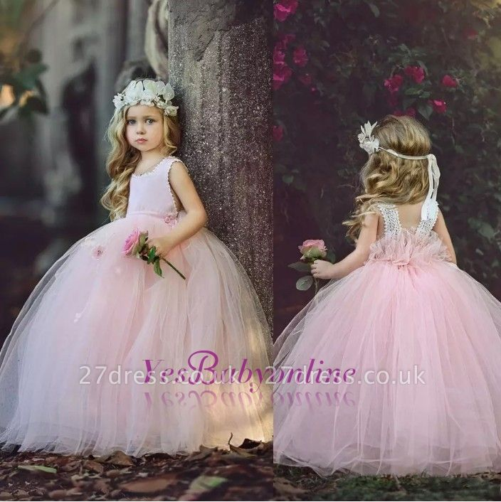 Ball-Gown Long Pink Cute Flower Girl Dresses BA6882