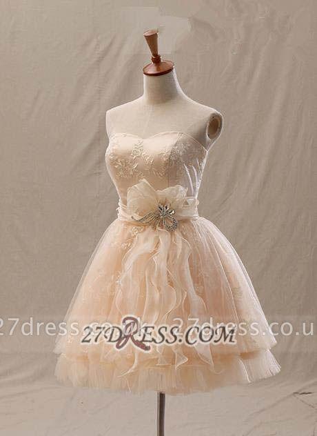 Lovely Semi-sweetheart Sleeveless Cocktail Dress UK Flower Appliques Tulle Short Homecoming Gown
