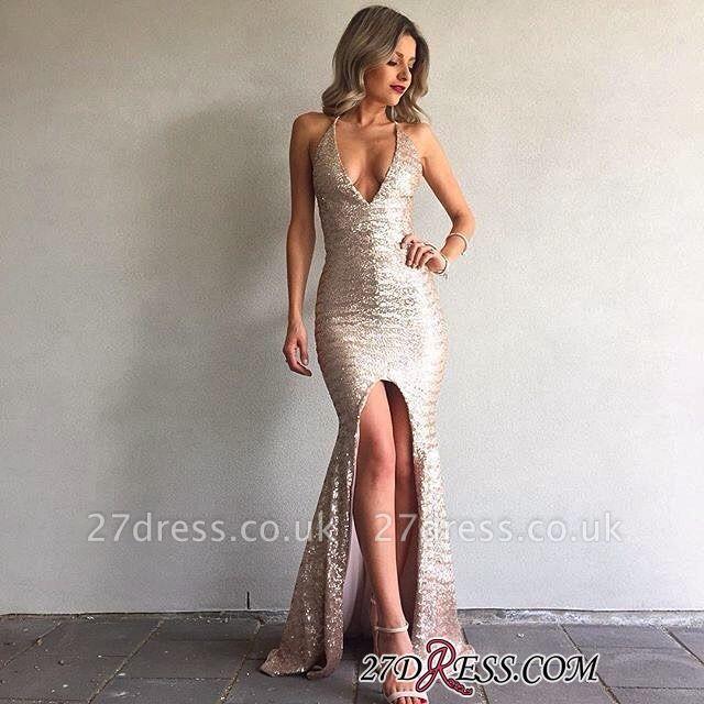 Front-Split V-Neck Sequined Elegant Backless Mermaid Prom Dress UK BA6840
