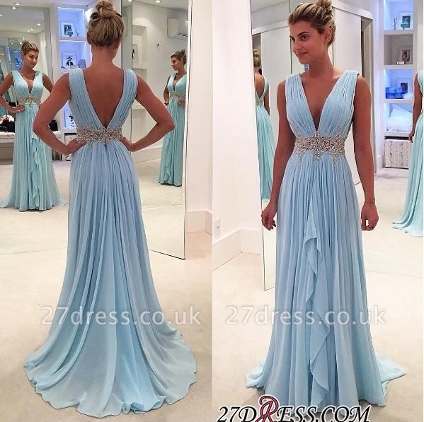 Gorgeous Ruffles A-Line V-Neck Blue Appliques Sleeveless Prom Dress UKes UK BA4574