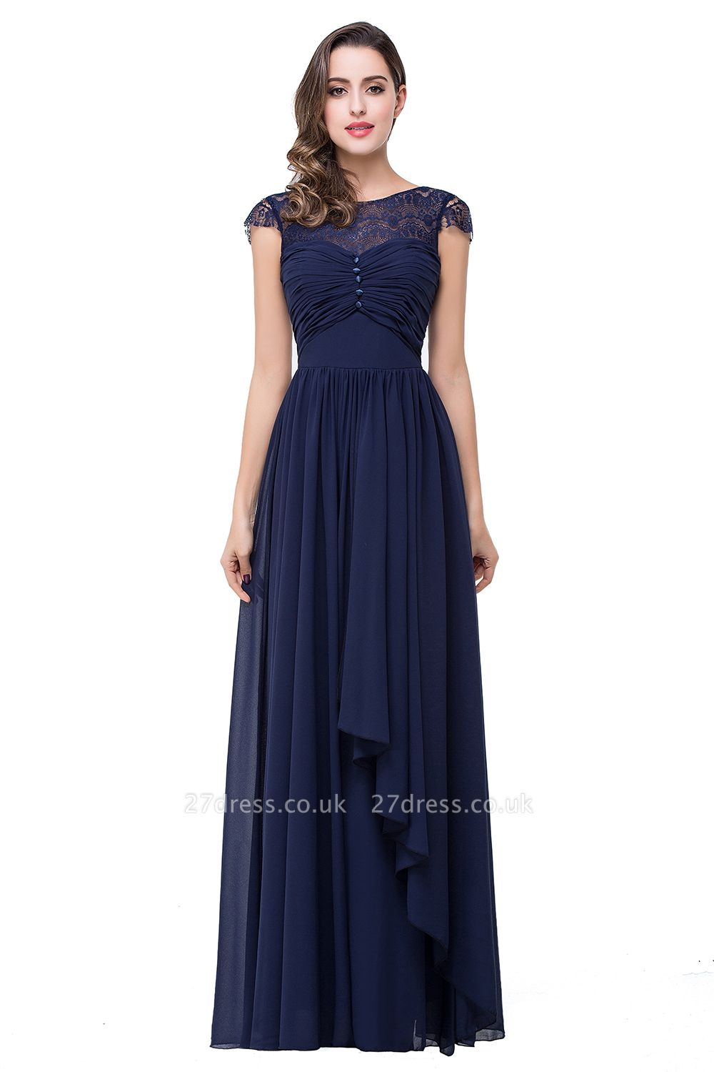 Sexy Chiffon Lace A-line Prom Dress UK Bowknot Cap Sleeve