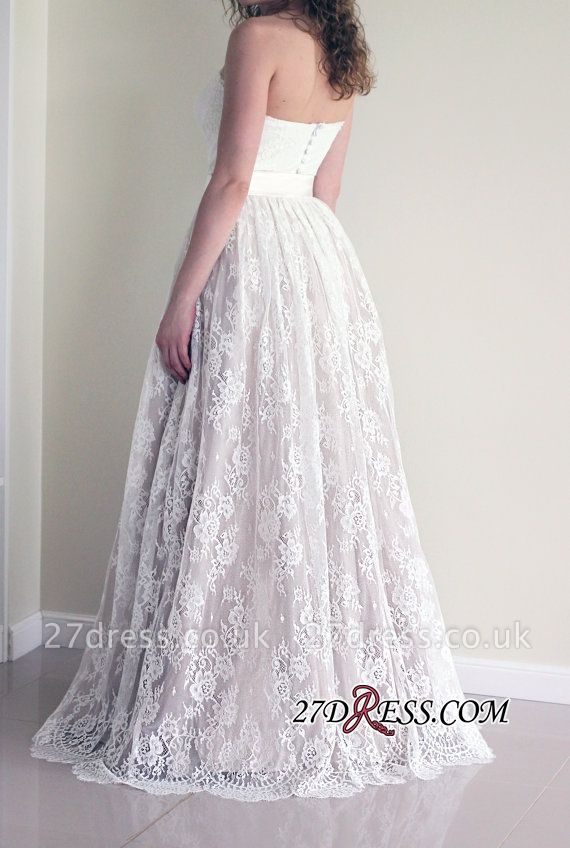 Sleeveless Lace A-line Cheap Long Sweetheart Sash Simple Wedding Dress