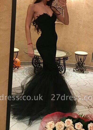 Elegant Black Sweetheart Mermaid Prom Dress UK With Ruffles