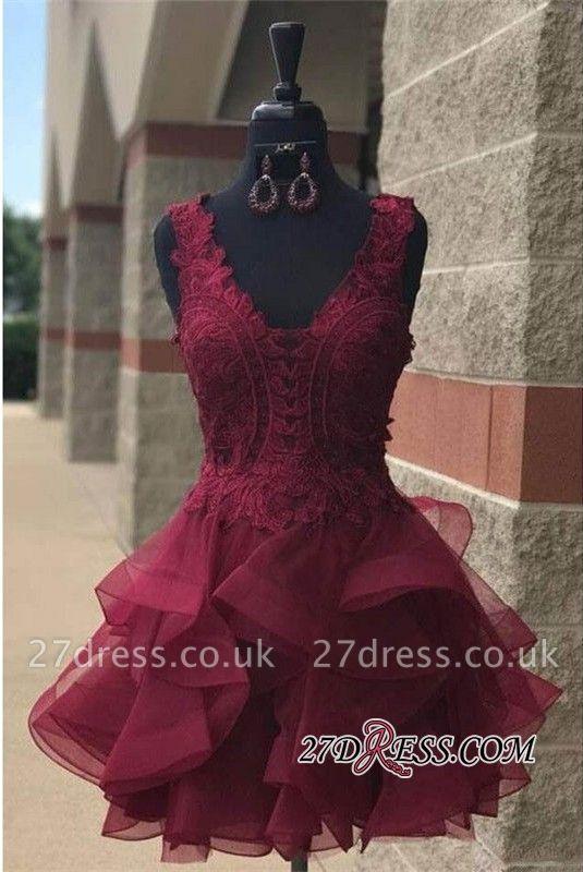Lace Straps Modest Short Ruffles Sleeveless Homecoming Dress UK