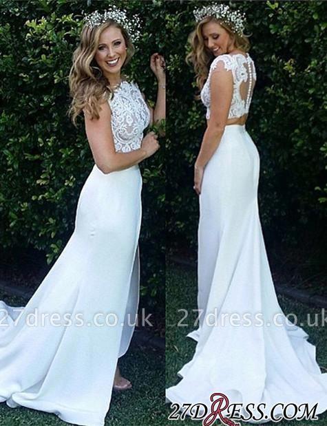 Two-Piece Zipper Lace Sexy Mermaid Sweep-Train Modest White Wedding Dress