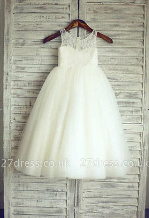 Lovely Lace Tulle Short Flower Girl Dress Illusion Sleeveless