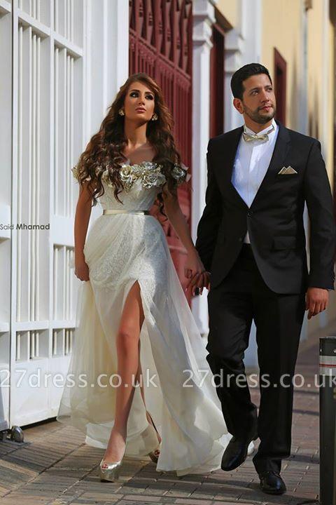 Delicate Off-the-shoulder  Flowers Wedding Dress Front Split