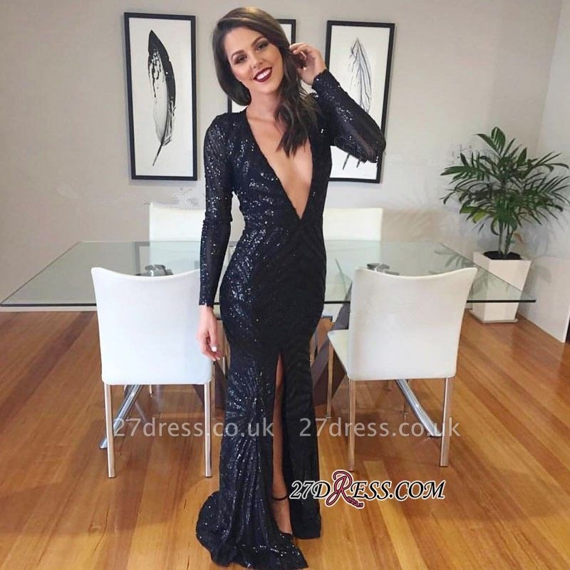 Black V-neck Evening Gowns   Sequined Prom Dress UK With Split