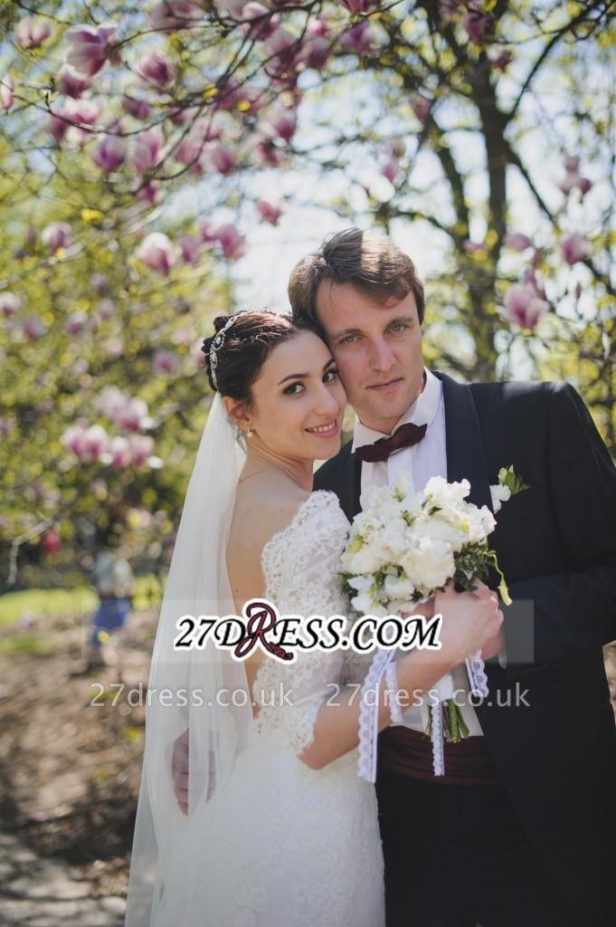 Train Stunning Half-sleeve Lace Open-Back Wedding Dress