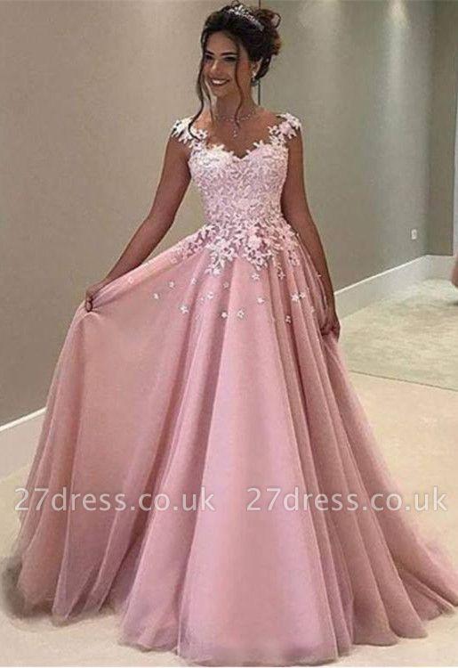 Luxury Pink Lace Appliques A-Line Long Evening Dress UK BA4607