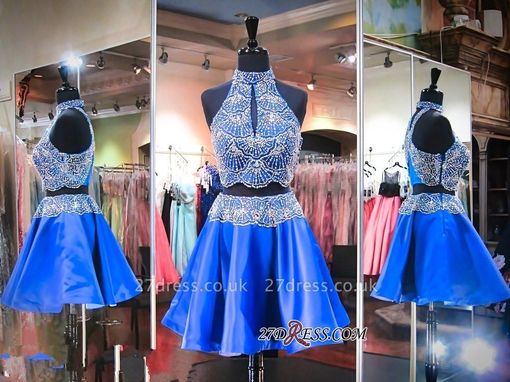 Sleeveless Beads Two-Piece Mini High-Neck Delicate Homecoming Dress UK