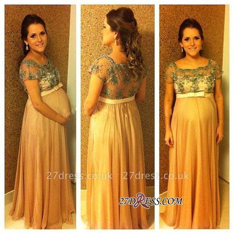 Short-Sleeves Ball-Gown Floor-length Pregnant Bow Chiffon Beading Prom Dress UK