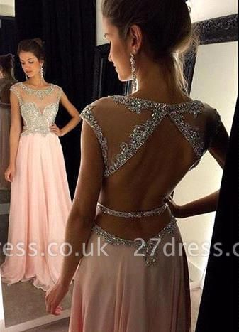 Luxury Scoop Long Chiffon Prom Dress UK Crystals Open Back AP0