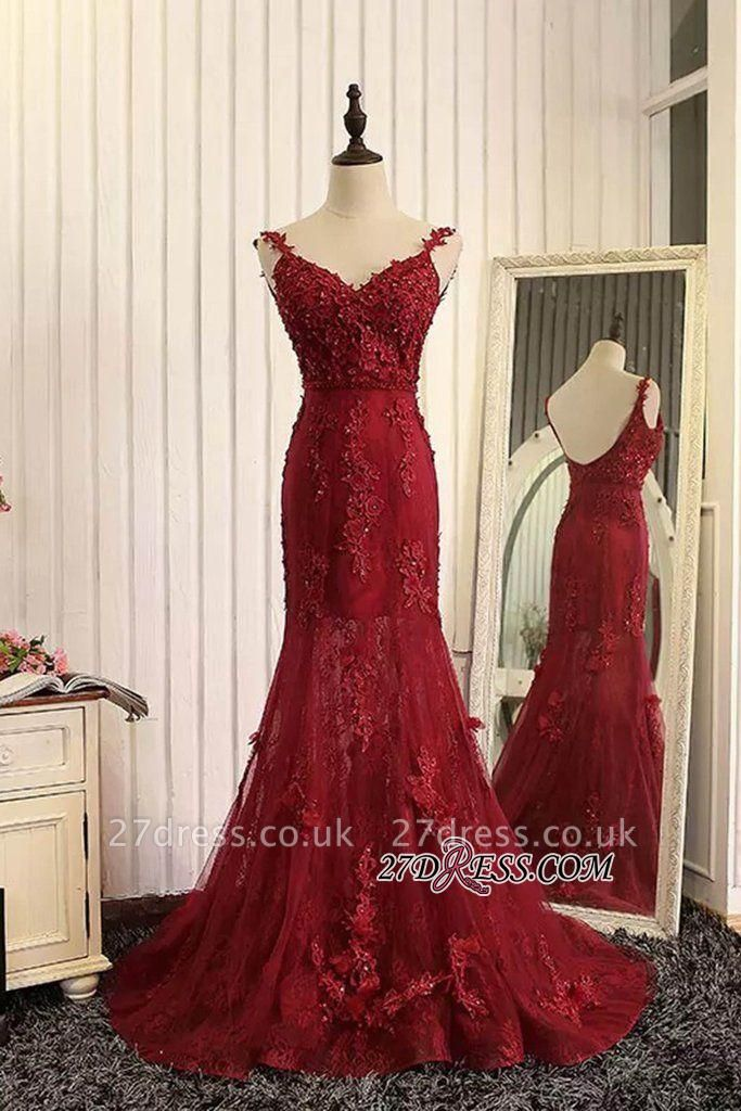 Lace Prom Burgundy Tulle Backless Mermaid Appliques Dress UKes UK Evening Gown