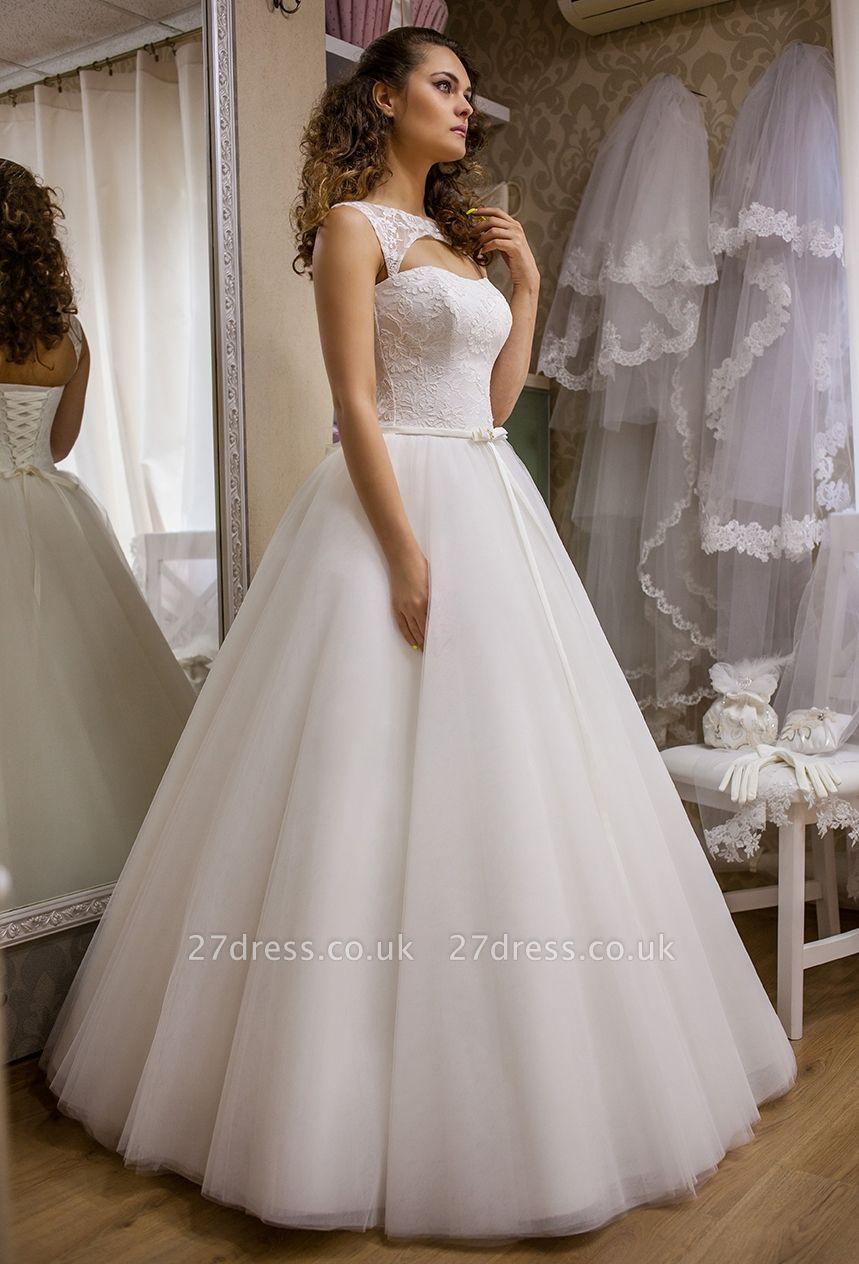 Modern Bateau Sleeveless Tulle Lace Wedding Dress Floor-length Lace-Up