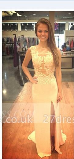 Beadings Sheath Elegant Prom Dress UK Side Slit Sweep Train Satin Applique and