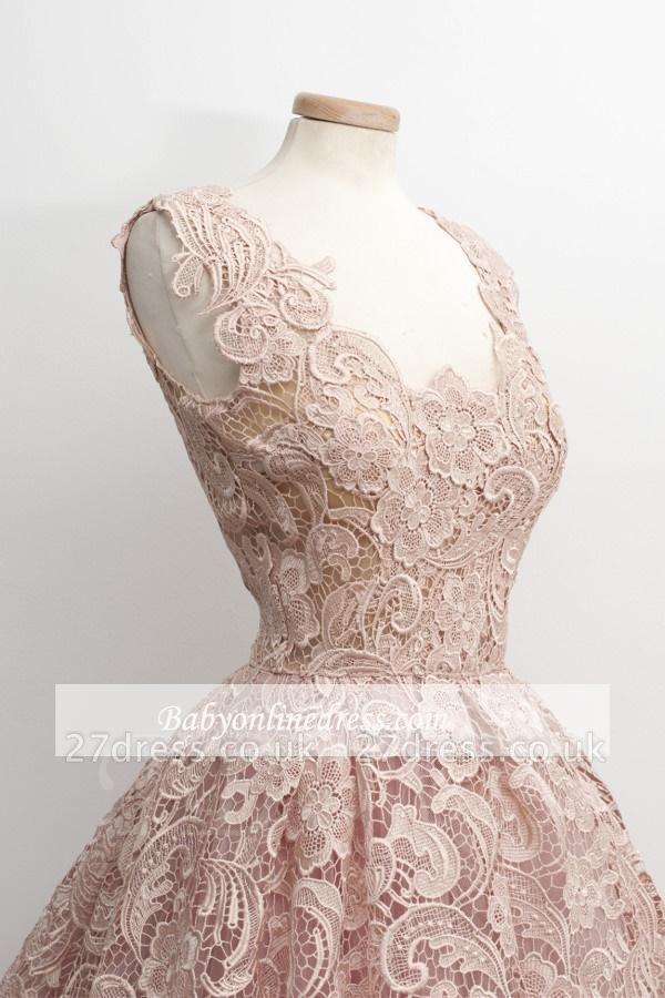 A-Line Short Lace Simple Sleeveless Sexy Homecoming Dress UKes UK