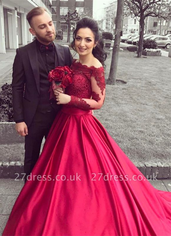 Gorgeous Long Sleeve Off-the-Shoulder Lace Evening Dress UK On Sale BA9082