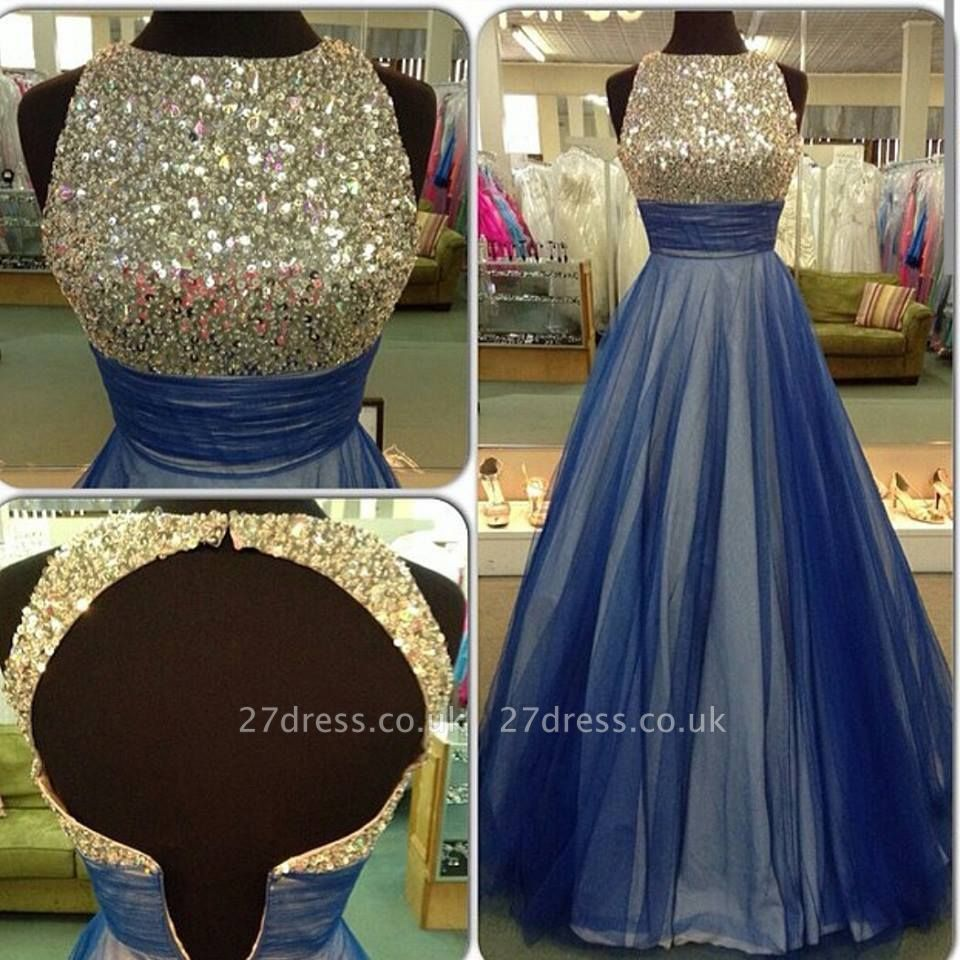 Beautiful Sequins Sleeveless Evening Dress UK A-Line Tulle Prom Gowns