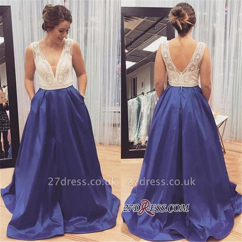 Sleeveless Zipper Long Beadings Luxury V-Neck Prom Dress UK