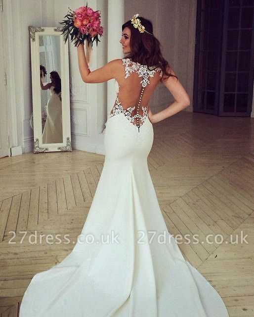 Stunning Sleeveless lace Sexy Mermaid Wedding Dress Zipper Button Back BA3691