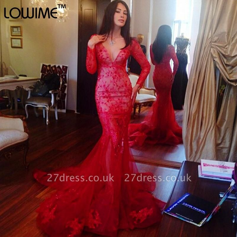 Gorgeous V-neck Red Mermaid Prom Dress UK Long Sleeve With Lace Appliques