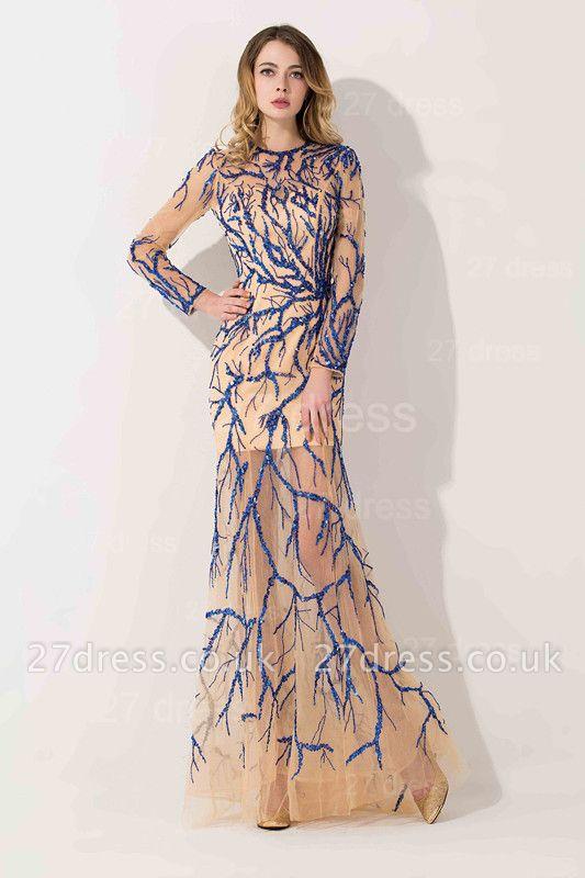 Elegant Long Sleeve A-line Evening Dress UK Beadings Jewel