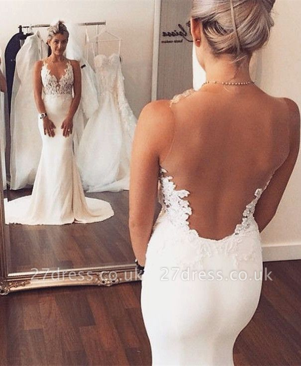 Sheer back  Sexy Mermaid Wedding Dress Sleeveless Lace summer Beach Wedding Gowns BA3612