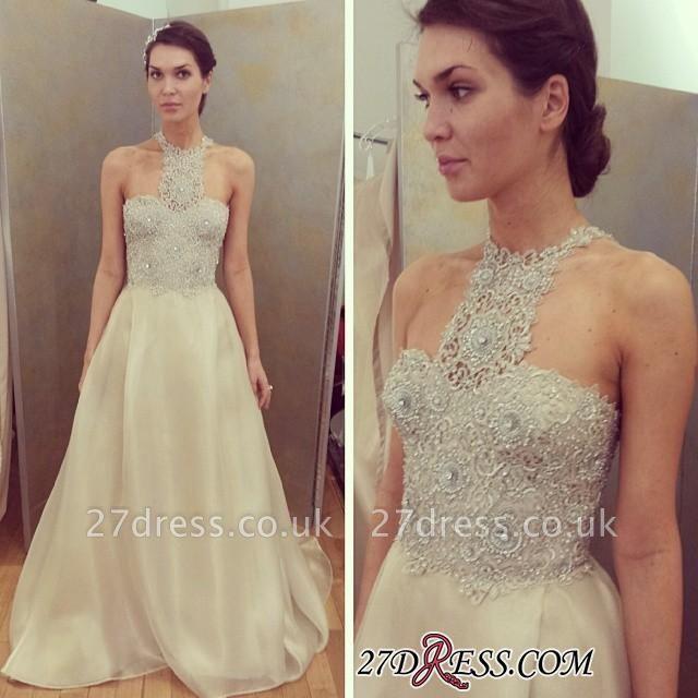 Lace Beadings Designer Sleeveless Luxury Long Prom Dress UK