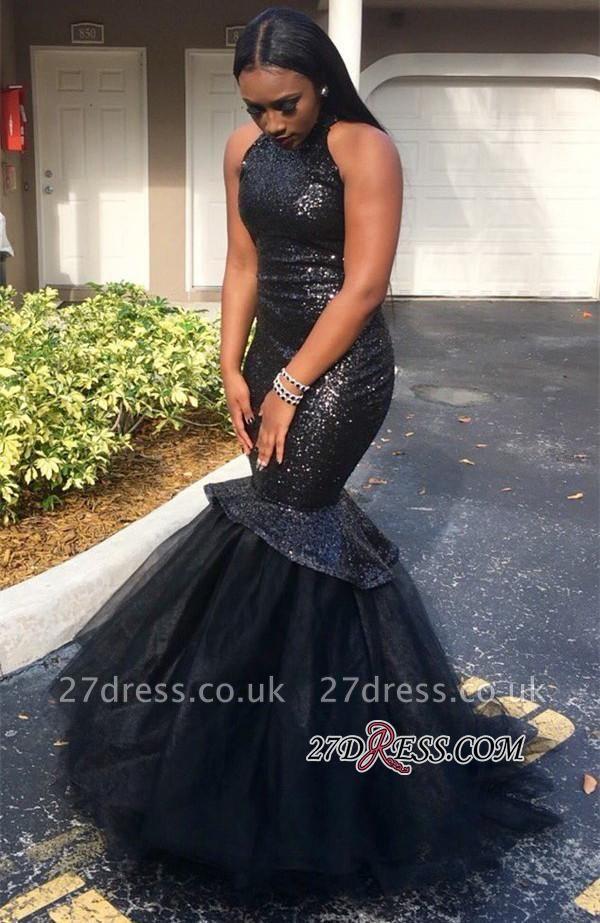 Sequins Mermaid Sleeveless High-Neck Black Elegant Yulle Luxury Prom Dress UK JJ0124 BK0