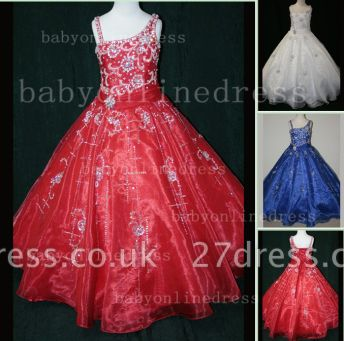 Crystal Discounted Pageant Dresses for Girls on Sale Formal Gowns Flower Newborn Beaded Girls