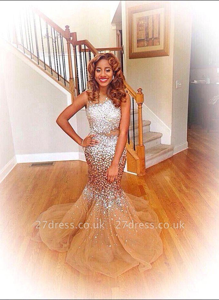Gorgeous Sleeveless Crystal Evening Dress UKes UK Long Mermaid Tulle Party Dress UK BK0