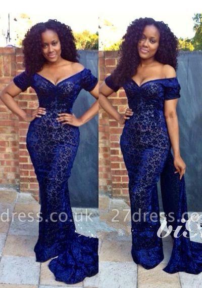 Luxury Navy Blue Lace Evening Dress UK Off the shoulder